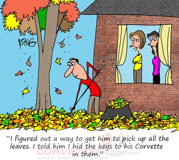 Saturday Morning Corvette Comic: How To Get the Yardwork Done in Record Time