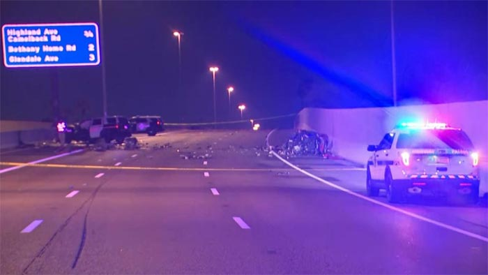 [ACCIDENT] Wrong Way Corvette Driver Crashes into Two Police Vehicles on Phoenix Highway