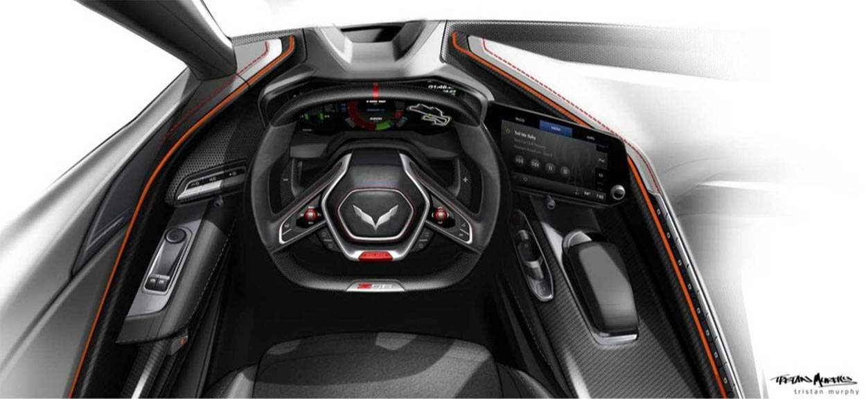 [PIC] Chevrolet Shares Early Sketch of the C8 Corvette Z06's Cockpit