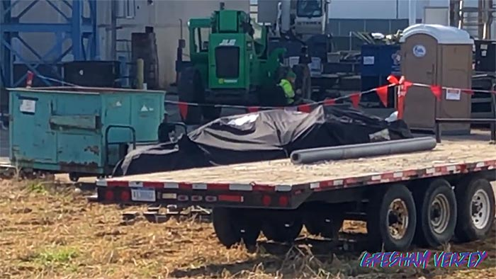 [VIDEO] Mystery C8 Corvette Behind the Assembly Plant is Covered Up