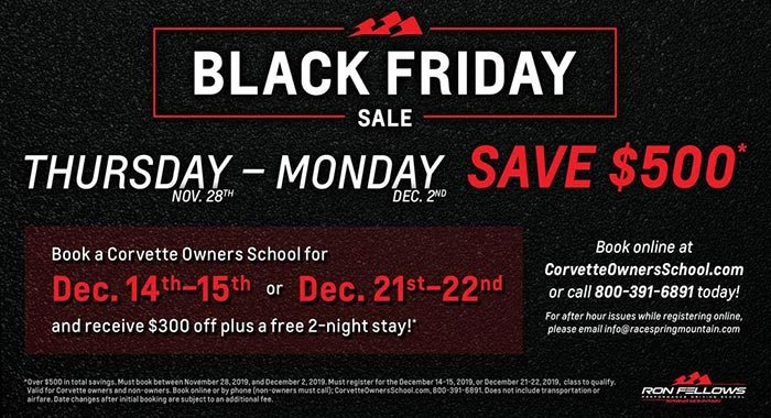 BLACK FRIDAY: Save $500 on the Corvette Owners School at Spring Mountain
