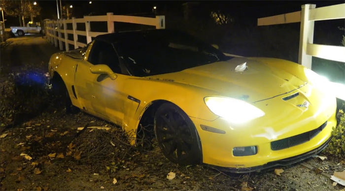 [STOLEN] Joyride in Unattended C6 Corvette Grand Sport Ends With Crash Through a Fence
