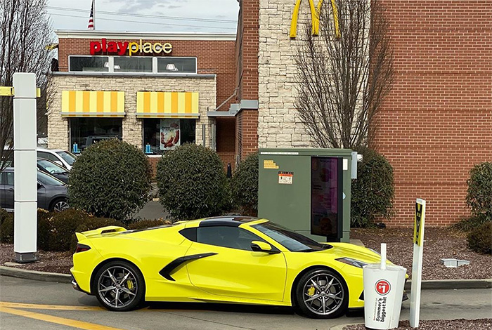 [SPIED] 2020 Corvette In Accelerate Yellow Pays a Visit to...(wait for it) McDonalds!