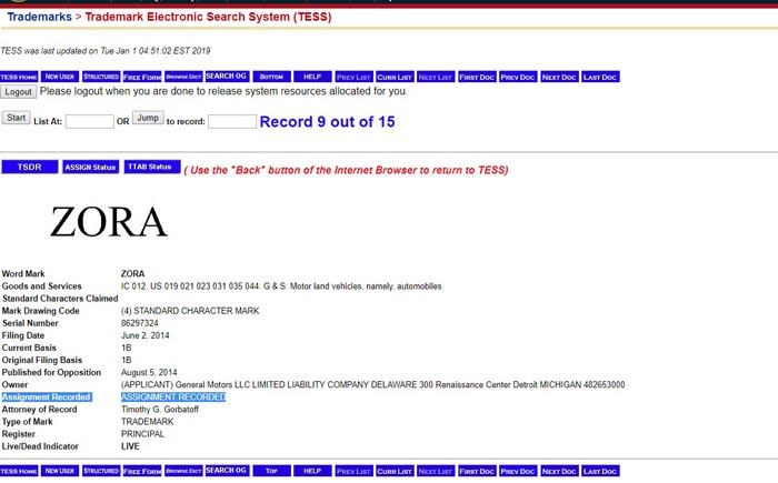 ZORA Trademark Filing with the USPTO