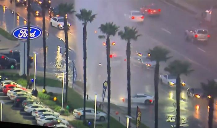 [ACCIDENT] Corvette vs Fire Hydrant Outside a Ford Dealership