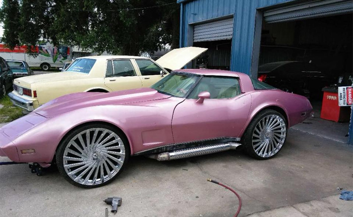 Found on Facebook: Pearl Metallic 1979 Corvette Rolling on 24s