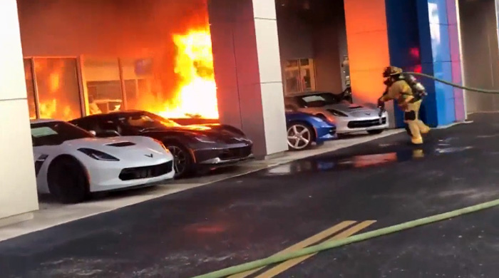 [ACCIDENT] Fire Destroys a New C7 Corvette at a South Florida Dealership