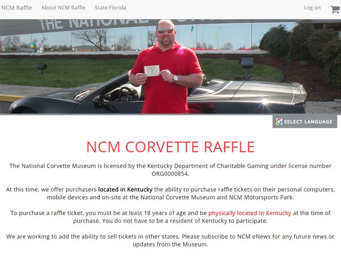 NCM Corvette Raffle Notice