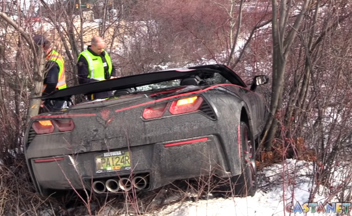 [ACCIDENT] Elderly Driver Crashes C7 Corvette on Snowy Road in Canada