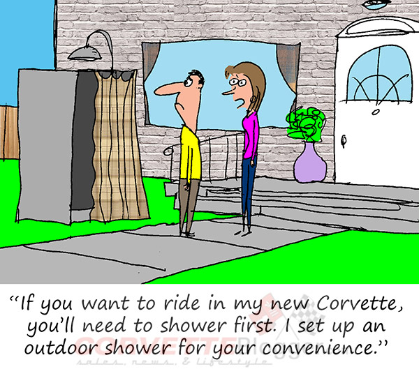 Saturday Morning Corvette Comic: Just a Quick Shower Before We Go!