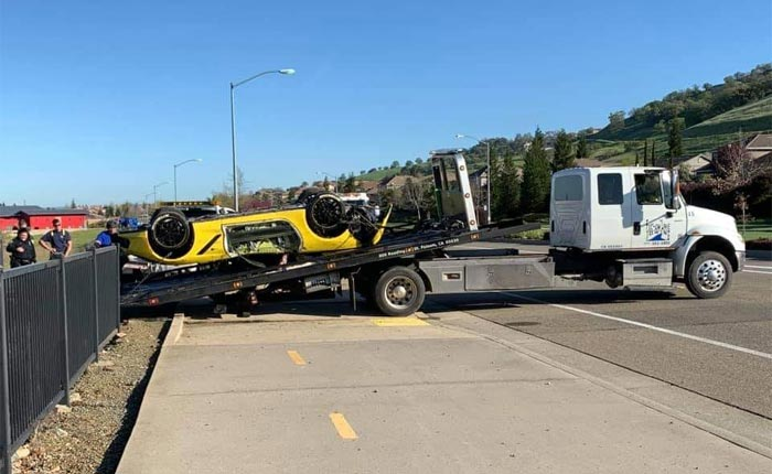 [ACCIDENT] Corvette Driver Goes Full Mustang and Lands in a Retaining Pond in Folsom, CA.