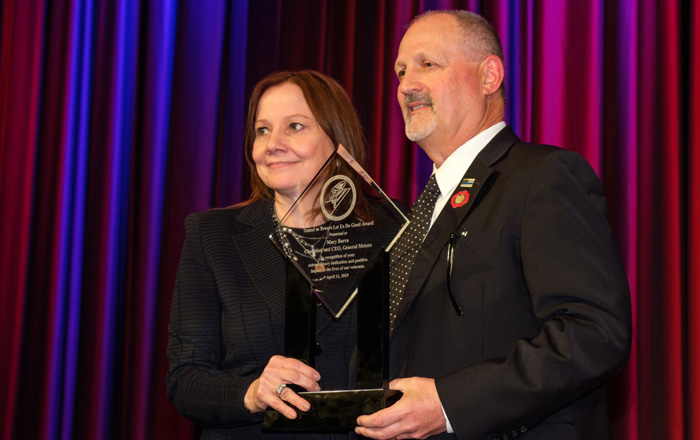 Mary Barra and Frank Stiller of the Stephen Siller Tunnel to Towers Foundation