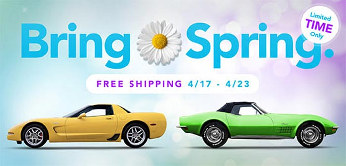 Spring Savings at Corvette Central Include Free Shipping!