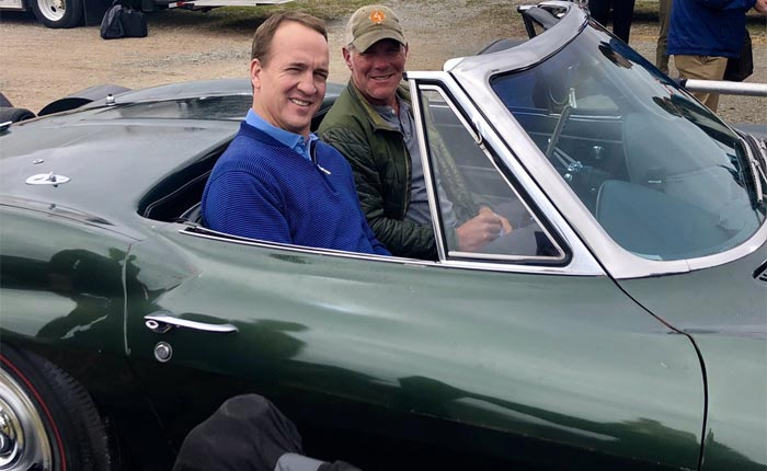 [PIC] Brett Farve and Peyton Manning Ride in Bart Starr's 1967 Corvette During Filming of New NFL Show