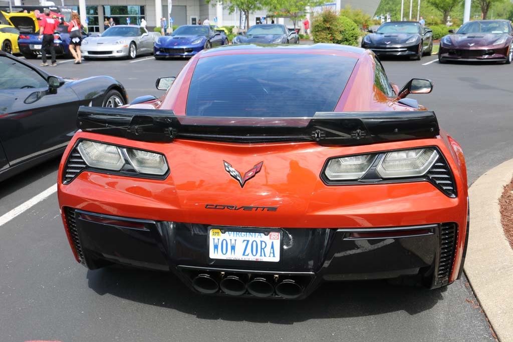 Zora vanity license plate on a C7 Corvette Z06