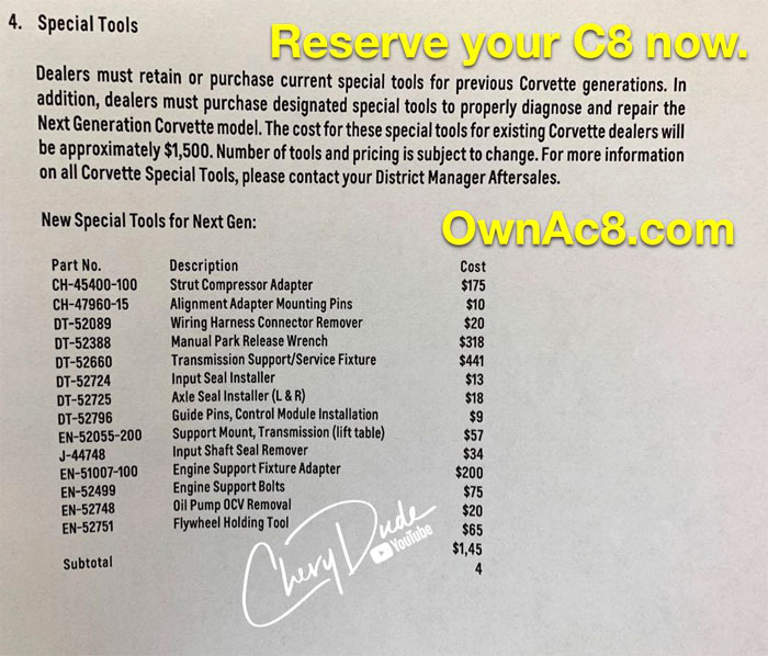 Here's the List of Special Tools Required to Service the C8 Mid-Engine Corvette