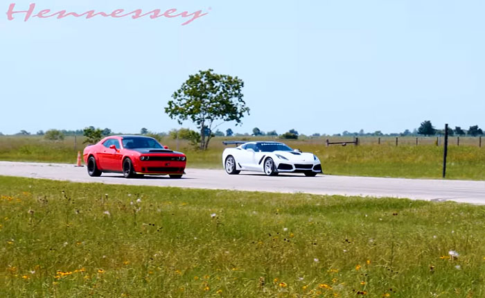 [VIDEO] Hennessey's 1000-HP 2019 Corvette ZR1 Takes on a Dodge Demon in a Roll Race