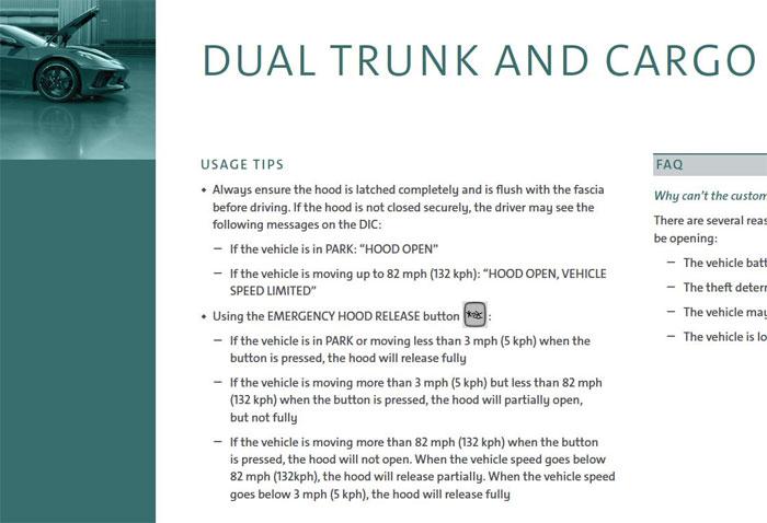 2020 Corvette Frunk Operating Info