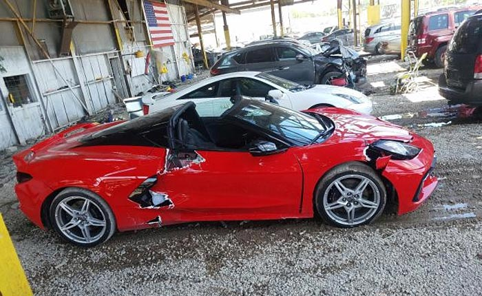 2020 Corvette That Fell Off a Dealer's Lift is Now Listed on Copart