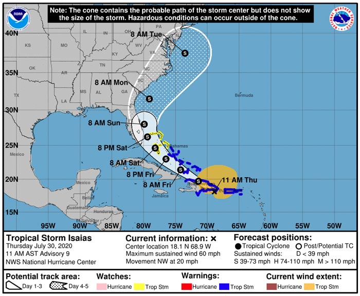 Tropical Storm Isaias Storm Track