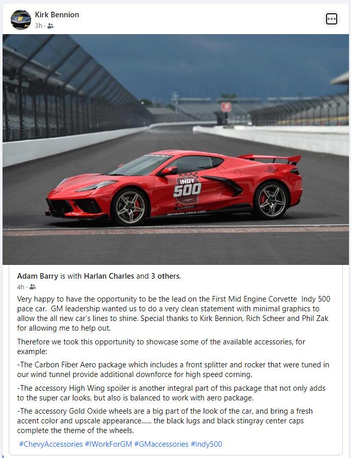 2020 Corvette Indy 500 Pace Car