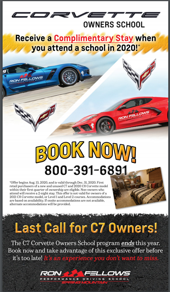 Receive a Complimentary Stay When You Attend Corvette Owners School in 2020