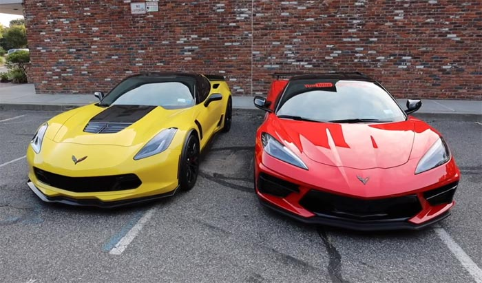[VIDEO] Sibling Rivalry On Display in Street Battle Between a C8 Corvette and C7 Z06