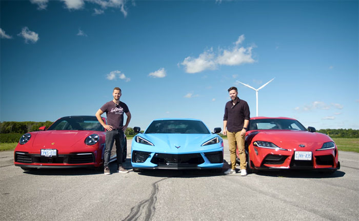 [VIDEO] Throttle House Offers Three-Way Drag Race with the C8 Corvette, Carrera S and Toyota Supra