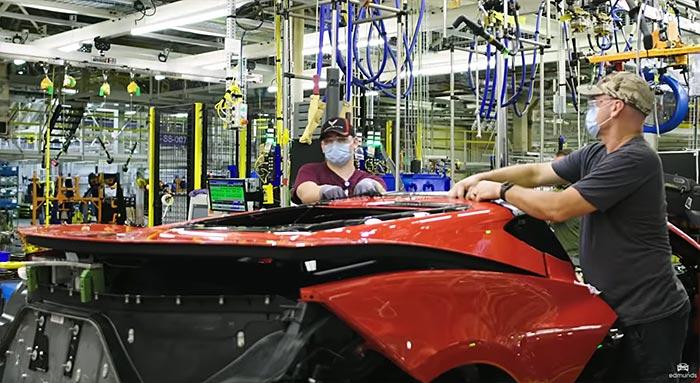 C8 Corvette under construction at the Corvette Assembly Plant