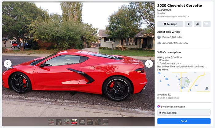 Owner Offers to Sell 2020 Corvette For $2 Million as Proof That Everything Has a Price