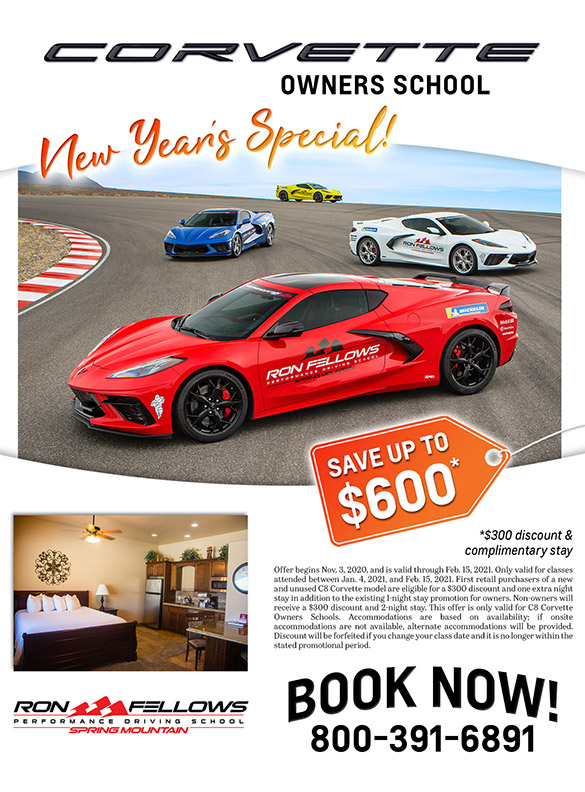 Save $300 and Receive a 2nd Night Stay at Spring Mountain for the C8 Corvette Owner's School