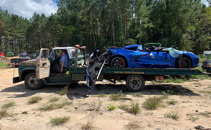 [ACCIDENT] 2020 Corvette Wrecks at 115 MPH, Looks Sad On This Old Chevy Tow Truck