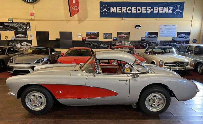 Corvettes for Sale: 1957 Silver/Red Restomod on Bring a Trailer