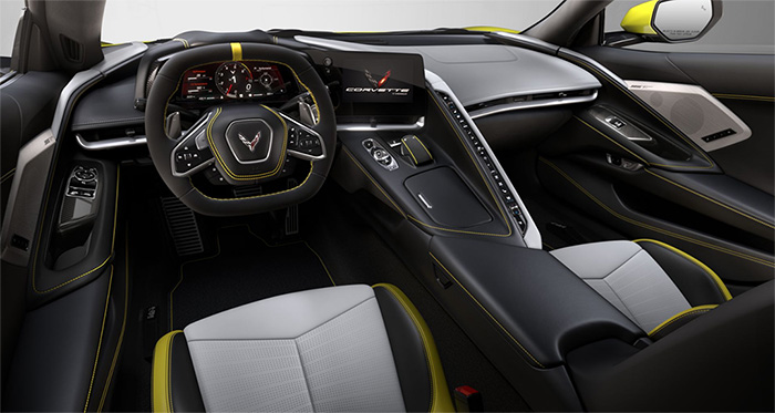 Sky Cool Gray - Strike Yellow Interior for 2021 Corvette is Currently on Constraint