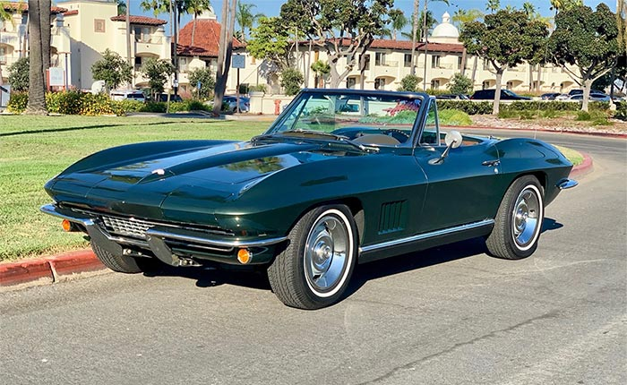 Corvettes for Sale: Green 1967 Corvette Convertible on Bring A Trailer