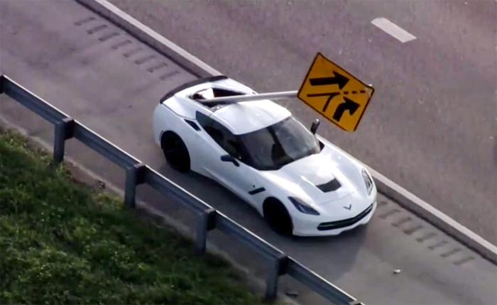[ACCIDENT] Street Sign Impales a C7 Corvette Stingray in South Florida