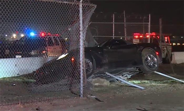 [ACCIDENT] Black C7 Corvette Crashes into Airport Fence in Burbank