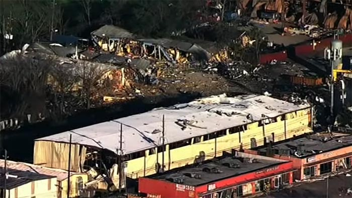 [VIDEO] Houston Warehouse Explosion Traps $1 Million Worth of Corvettes Under Collapsed Buildings