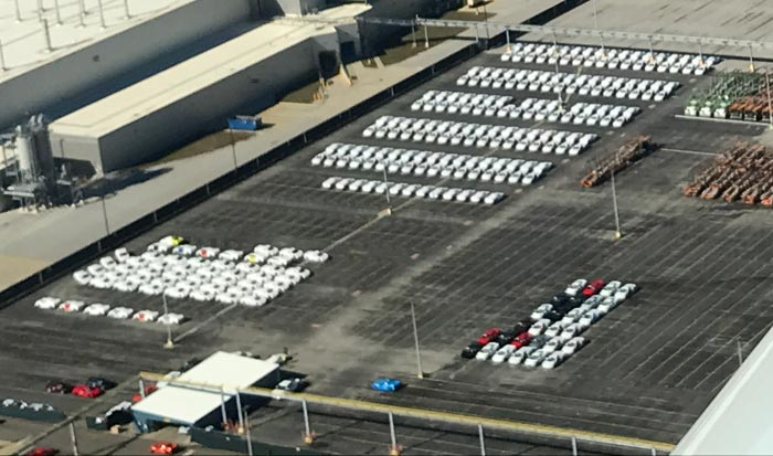 New Aerial Photos of the Corvette Assembly Plant Show A Whole Lot of C8 Corvettes Out Back!