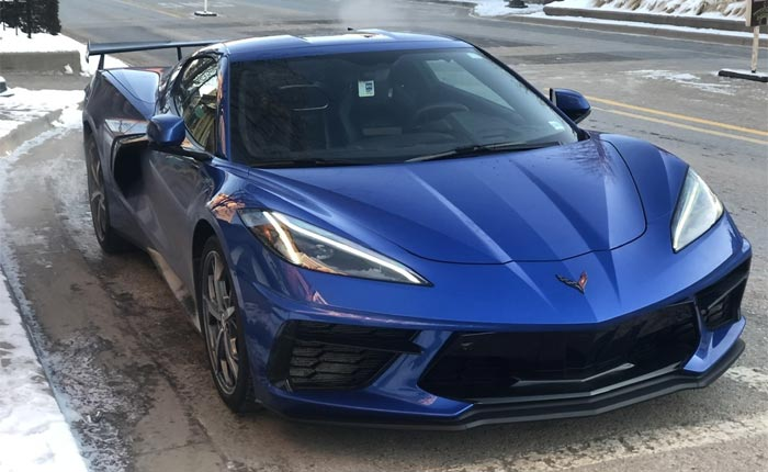 [SPIED] Elkhart Lake Blue 2020 Corvette Stingray with High Wing Near Proving Grounds