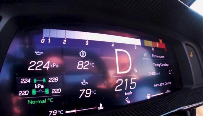 [VIDEO] 2020 Corvette Goes 0-133 MPH in Wide Open Throttle Sprint Shown in Track Mode