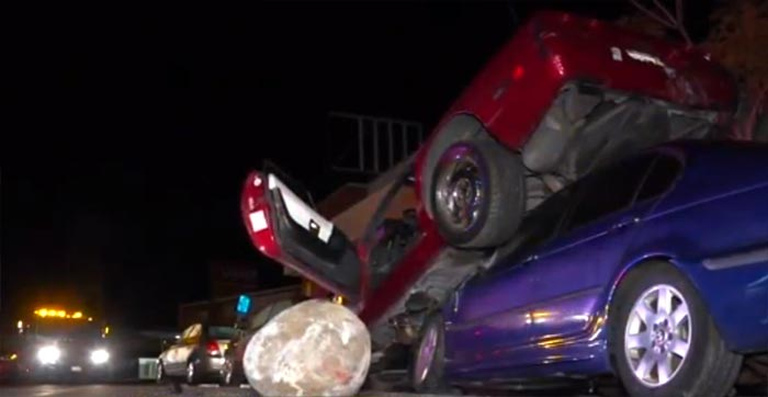 [ACCIDENT] C4 Corvette Driver Crashes Into Parked Cars and Winds Up Stuck On Top a BWM