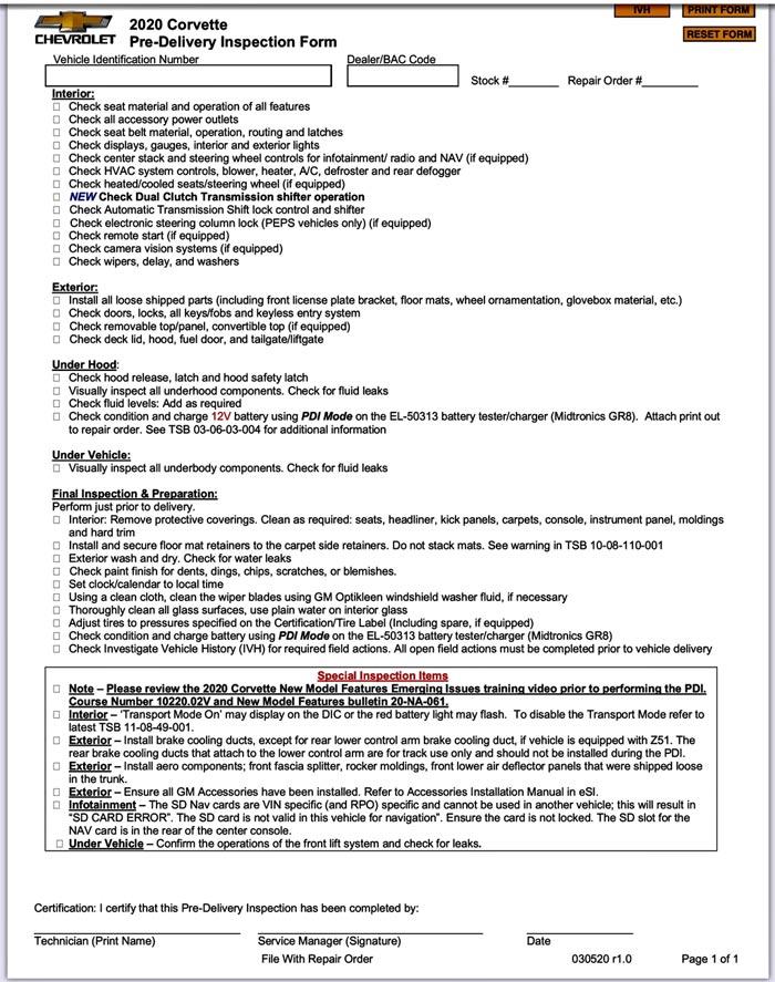 2020 Corvette PDI Checklist