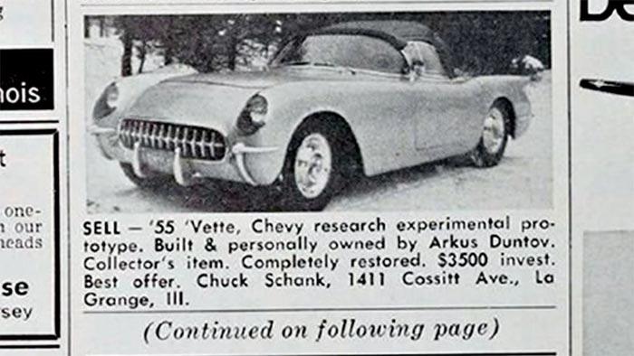 Zora's 1955 Corvette Classified Ad