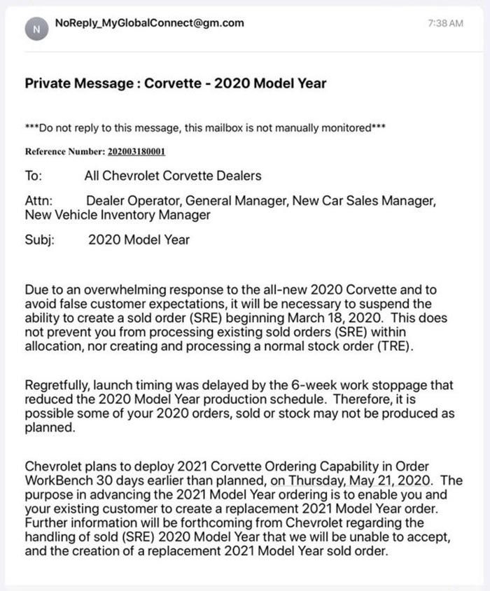 Chevy Closes the Order Books on the 2020 Corvette as 2021 Ordering Will Start in Late May