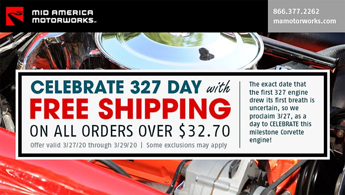 Celebrate 327 Day with a Free Shipping Offer from Mid America Motorworks
