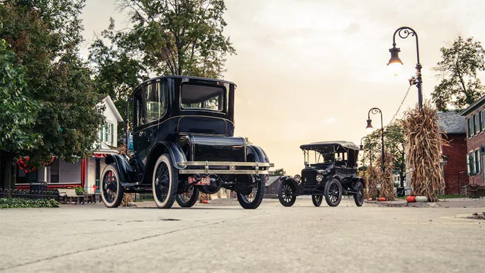 Model T and a Detroit Electric Model 90 Coupe