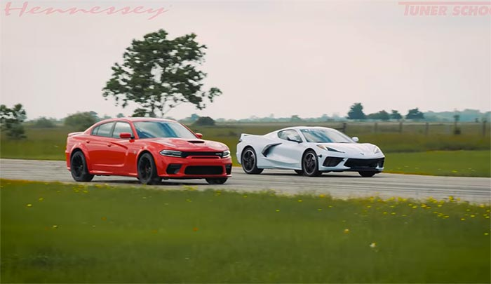 [VIDEO] Hennessey Races a Stock 2020 Corvette vs a 707 HP Dodge Charger Hellcat