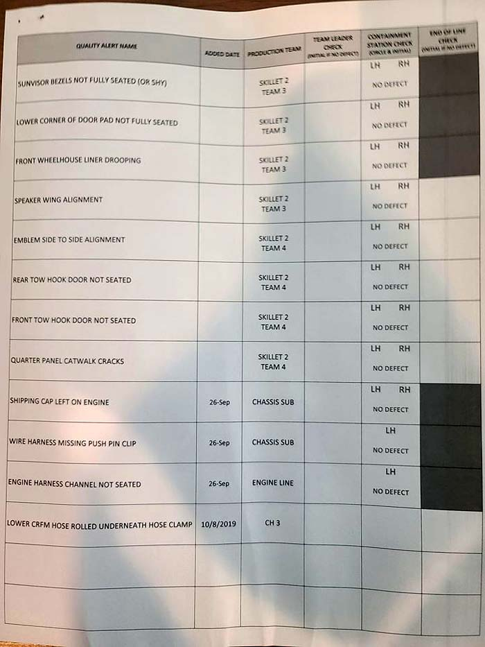 [PICS] C8 Corvette Owner Finds Quality Control Checklist in Glovebox