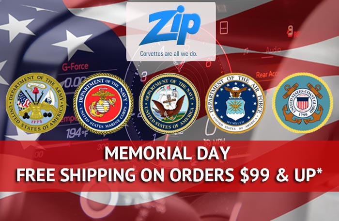 Zip Corvette's Annual Memorial Day Sale is On with Free Shipping on Orders $99 and More